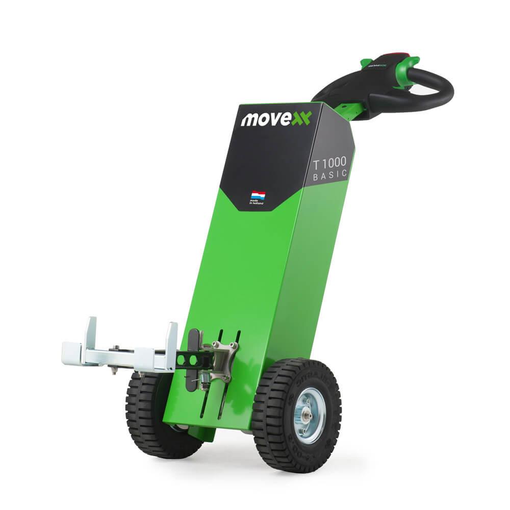 Ručně vedený elektrický tahač movexx t1000 basic s hákem utáhne až 1000 kg náklad na kolečkách, úvodní foto