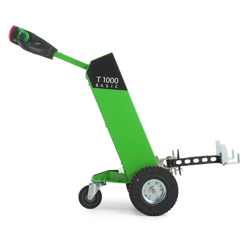 Ručně vedený elektrický tahač movexx t1000 basic s hákem utáhne až 1000 kg náklad na kolečkách, pohled zboku