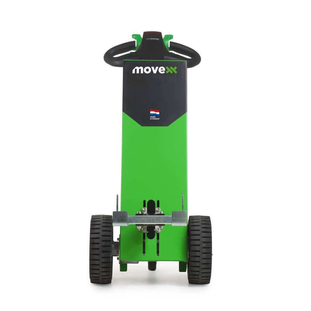 Ručně vedený elektrický tahač movexx t1000 basic s hákem utáhne až 1000 kg náklad na kolečkách, pohled zpředu