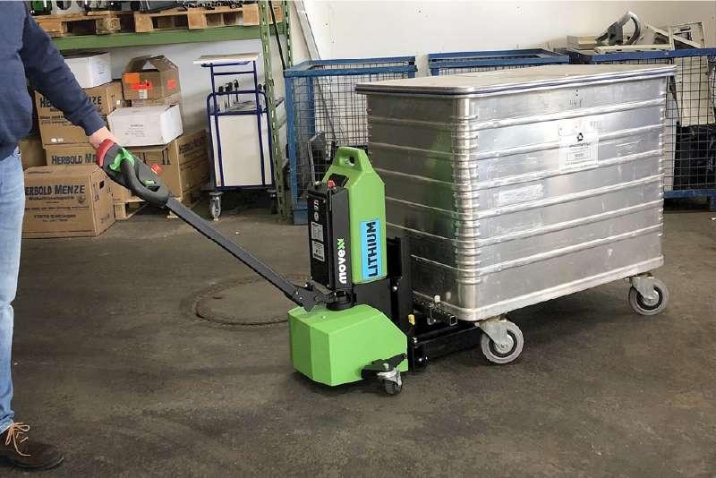 ručně vedený elektrický tahač md1000, manipulace s kontejnerem, který má čtyři otočná kola