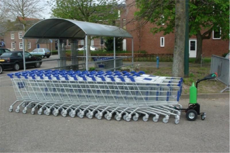 elektrický ručně vedený tahač t1000 pro supermarkety, venkovní manipulace s nákupními košíky