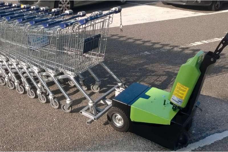 elektrický ručně vedený tahač t1000-d s modulem pro nákupní košíky, manipulace s nákupními košíky