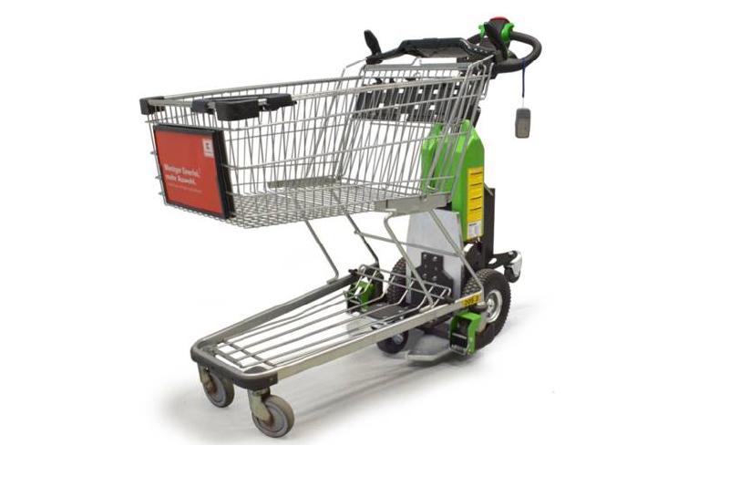 elektrický ručně vedený tahač t1000 pro supermarkety, ukázka zapojení nákupního košíku pomocí modulu pro nákupní košíky