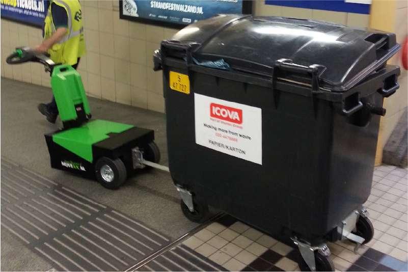 manipulace popelnic odpadu rucne vedeny elektricky tahac t1500
