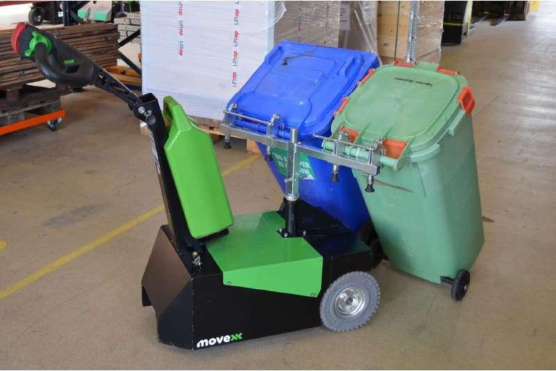 elektrický ručně vedený tahač t1000-d s modulem pro popelnice, zapojení a manipulace dvou popelnic najednou