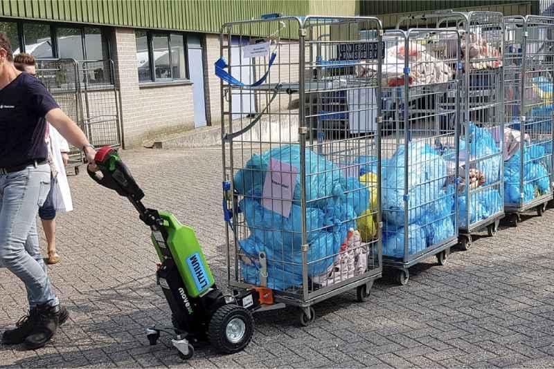 elektrický ručně vedený tahač t1000 pro prádelny, přeprava klecí s prádlem