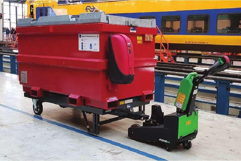 elektrický ručně vedený tahač t2500-p přeprava kontejneru na podstavcích pomocí elektrického zdvihu háku
