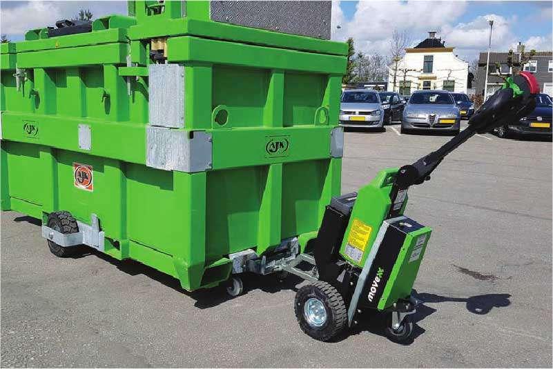 ručně vedený elektrický tahač t1500 je vhodný k venkovnímu použití, manipulace velkého kontejneru na kolečkách