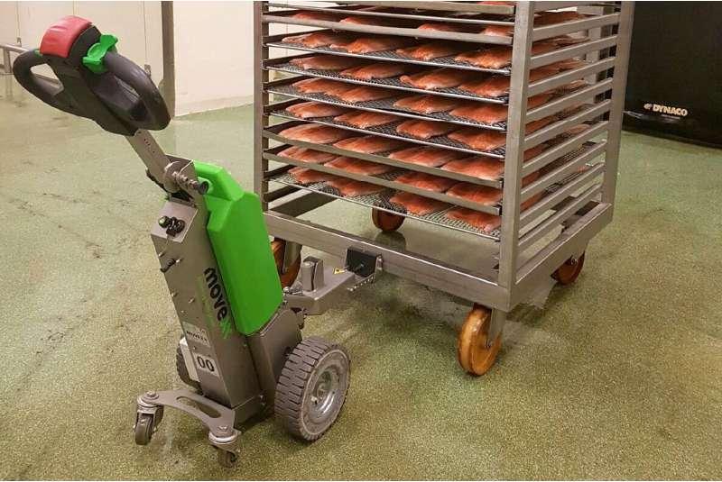 elektrický ručně vedený tahač t1000 -rvs v potravinářství, uchycení přepravního vozíku