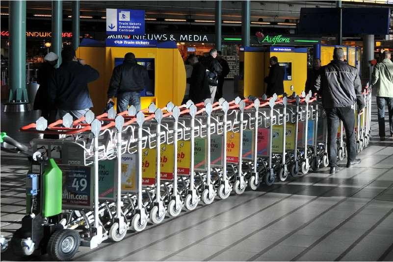 elektrický ručně vedený tahač t1000, přeprava zavazadel na letišti