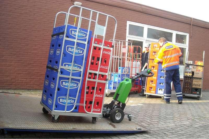 elektrický ručně vedený tahač t1000 venkovní nakládka zboží na rampu kamionu