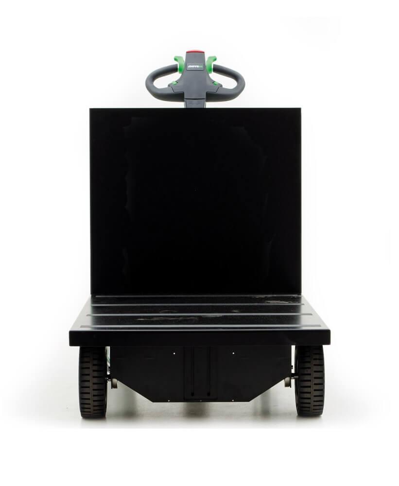 elektrický ručně vedený plošinový vozík P300 800x1200 se snadno vyměnitelnou lithiovou baterií, foto z přední strany