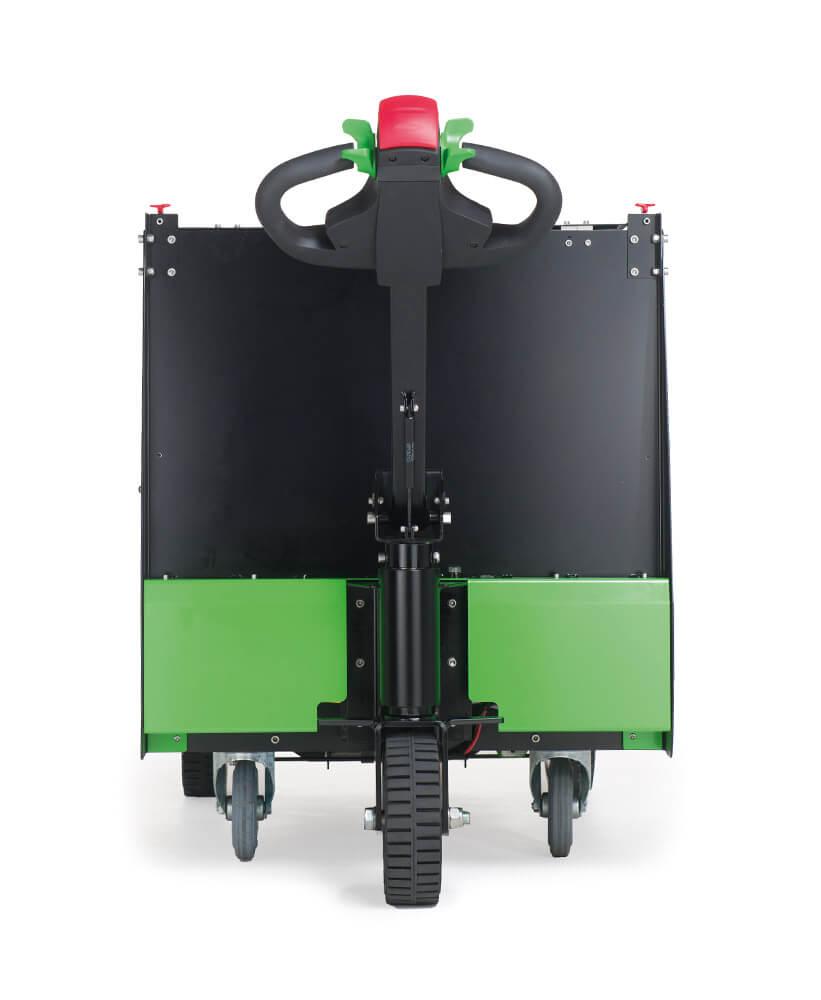 elektrický ručně vedený plošinový vozík P300 800x1200 se snadno vyměnitelnou lithiovou baterií, foto zezadu