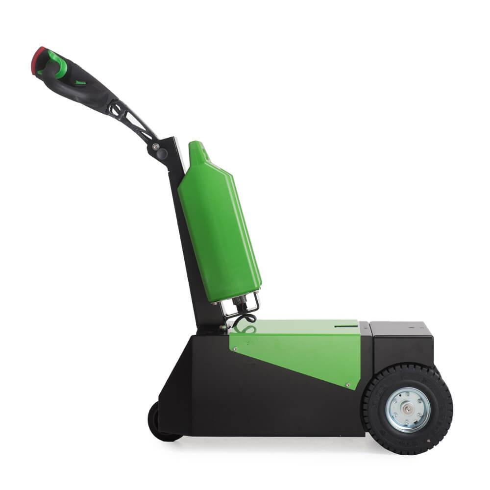 elektrický ručně vedený tahač t1000-d má 3 kola a snadno vyměnitelnou baterii, foto z boku