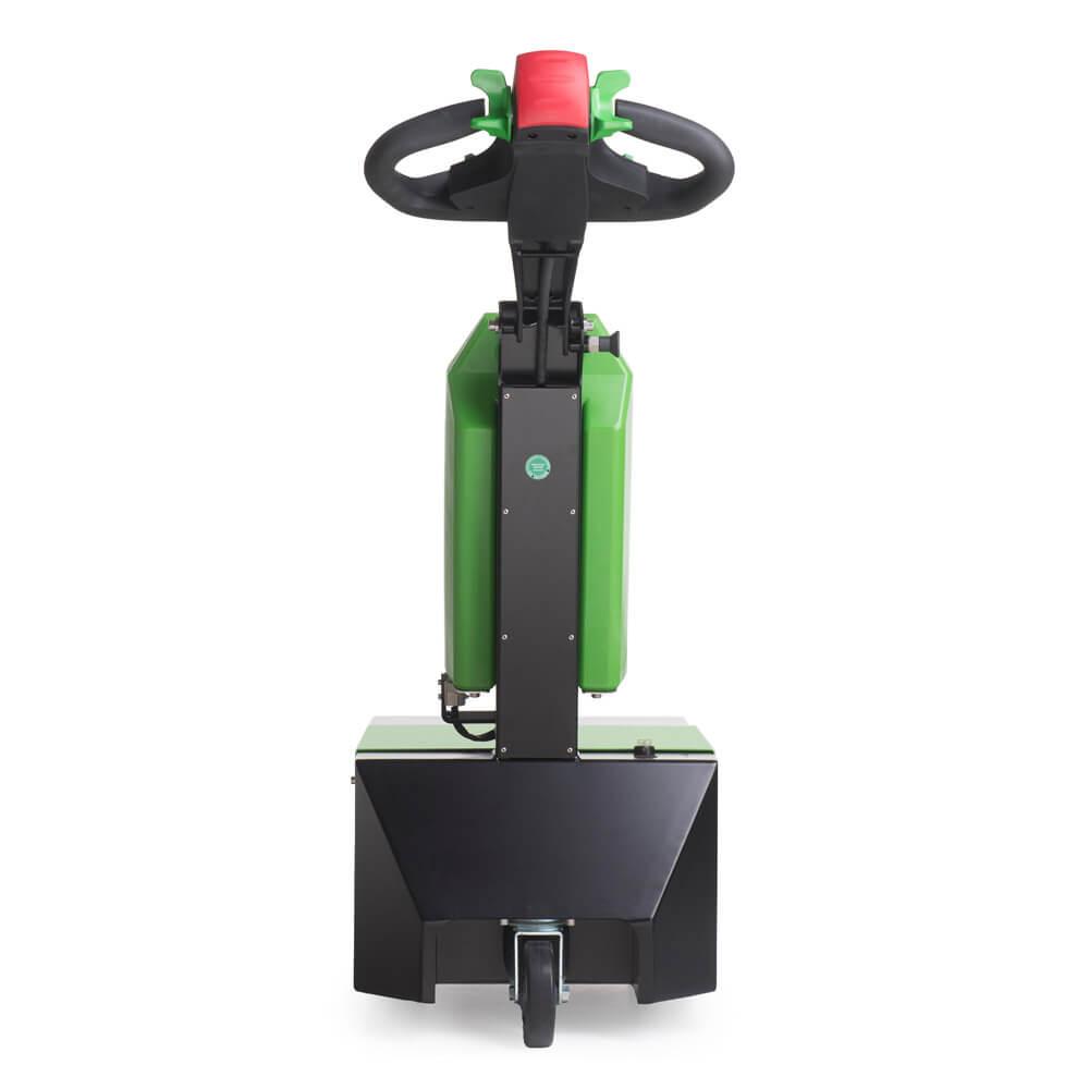 elektrický ručně vedený tahač t1000-d má 3 kola a snadno vyměnitelnou baterii, foto zezadu