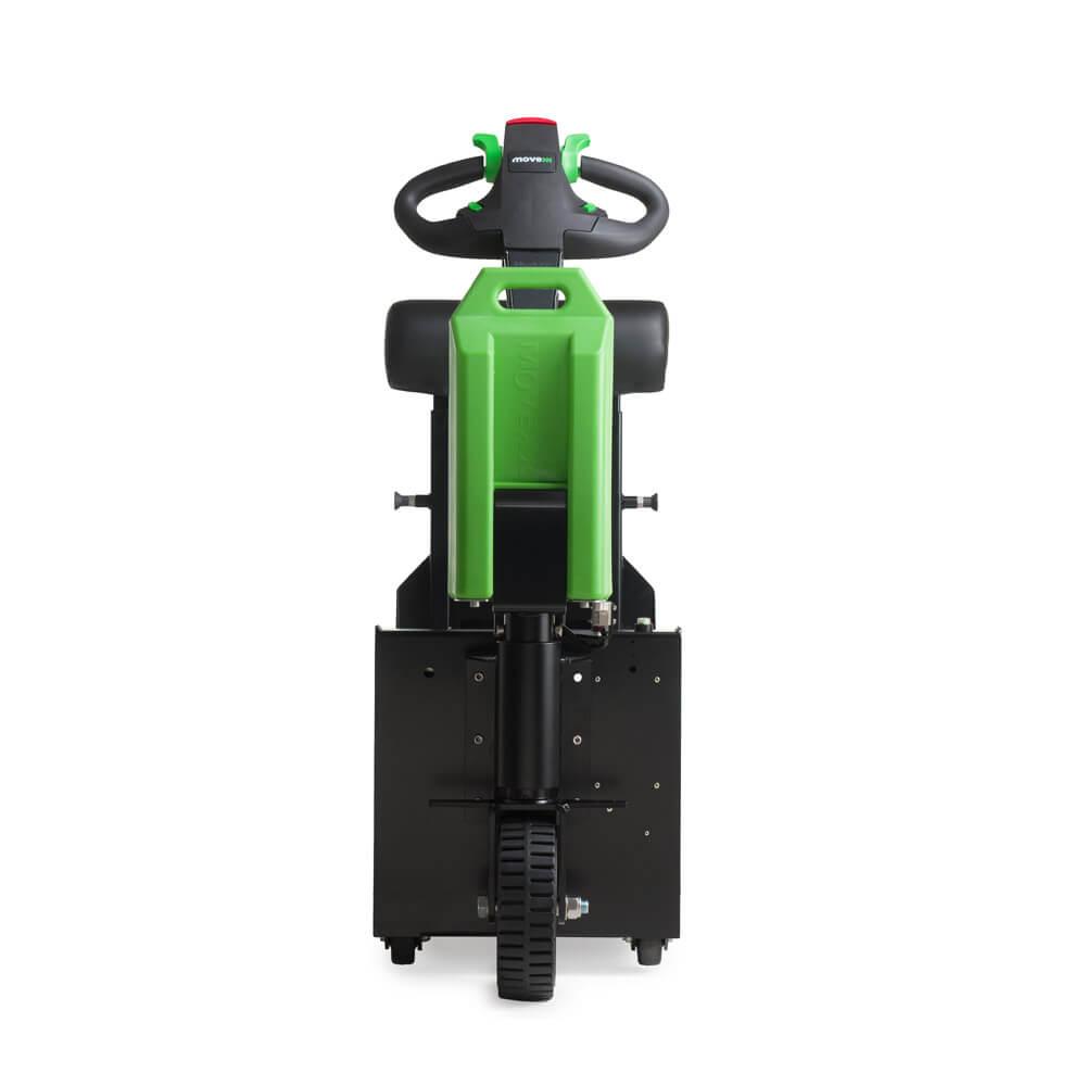 elektrický tahač t1000-platform s plošinou pro stojícího řidiče a s lehce vyměnitelnou baterií patří k nejprodávanějším tahačům, foto zepředu