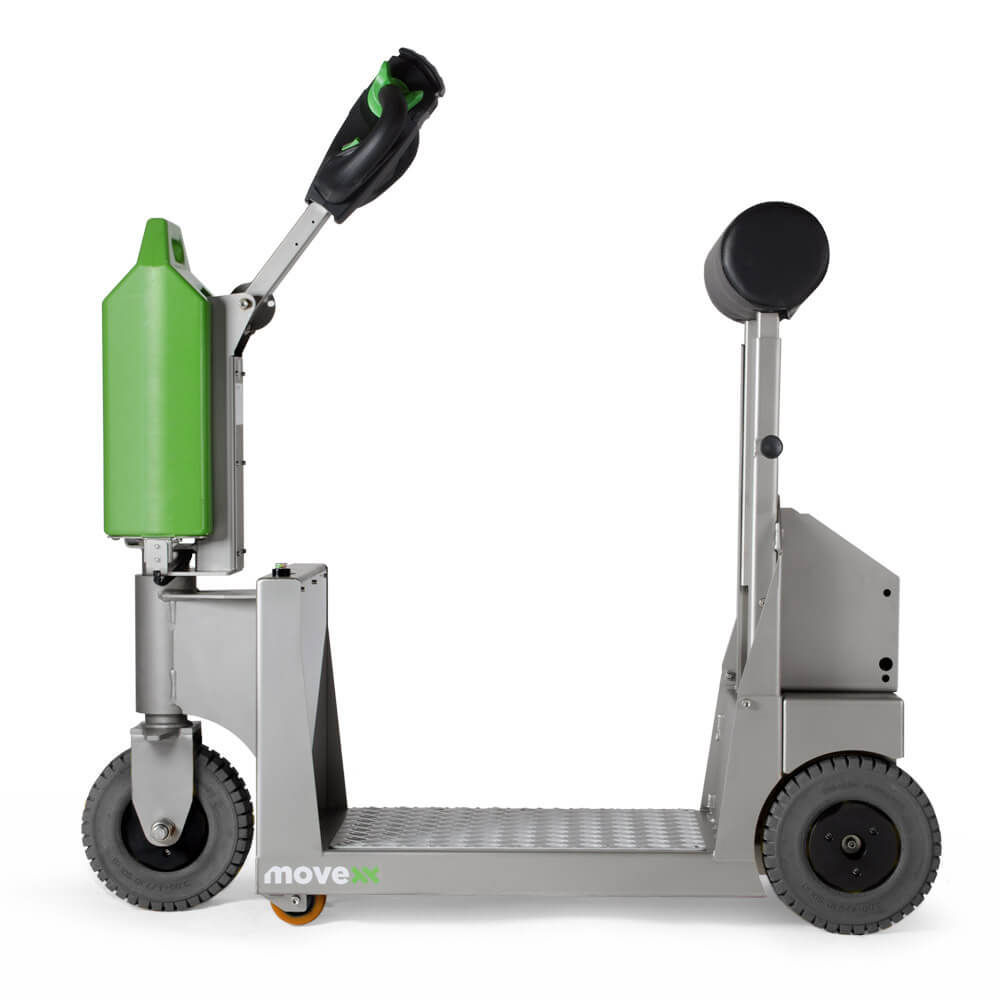 elektrický tahač t1000-platform rvs s plošinou pro stojícího řidiče se hodí pro zdravotnictví, farmaceutický, chemický či potravinářský průmysl, foto z boku