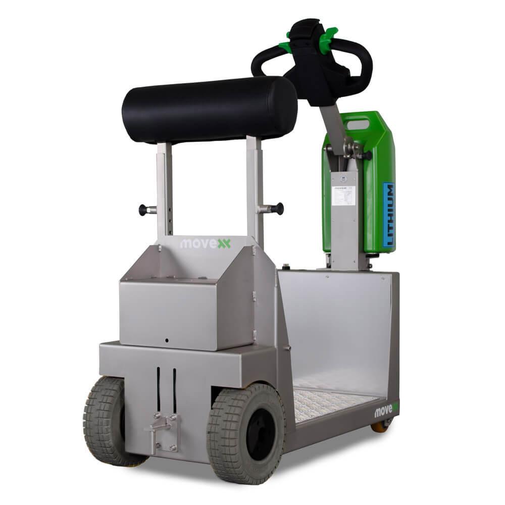 elektrický tahač t1000-platform rvs s plošinou pro stojícího řidiče se hodí pro zdravotnictví, farmaceutický, chemický či potravinářský průmysl, foto zezadu
