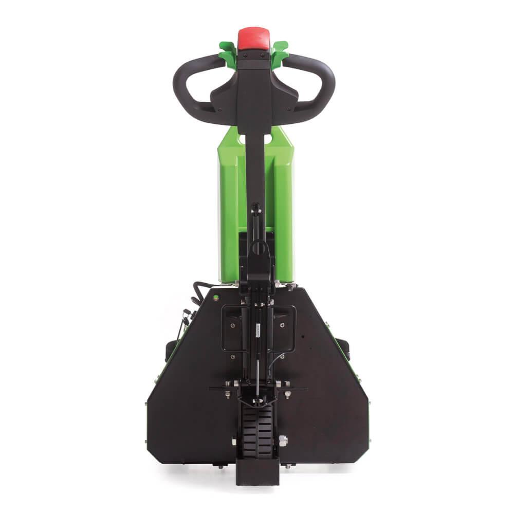 ručně vedený elektrický tahač t1000-rz s elektrickým zdvihem vidlic a snadno vyměnitelnou baterií, foto zezadu