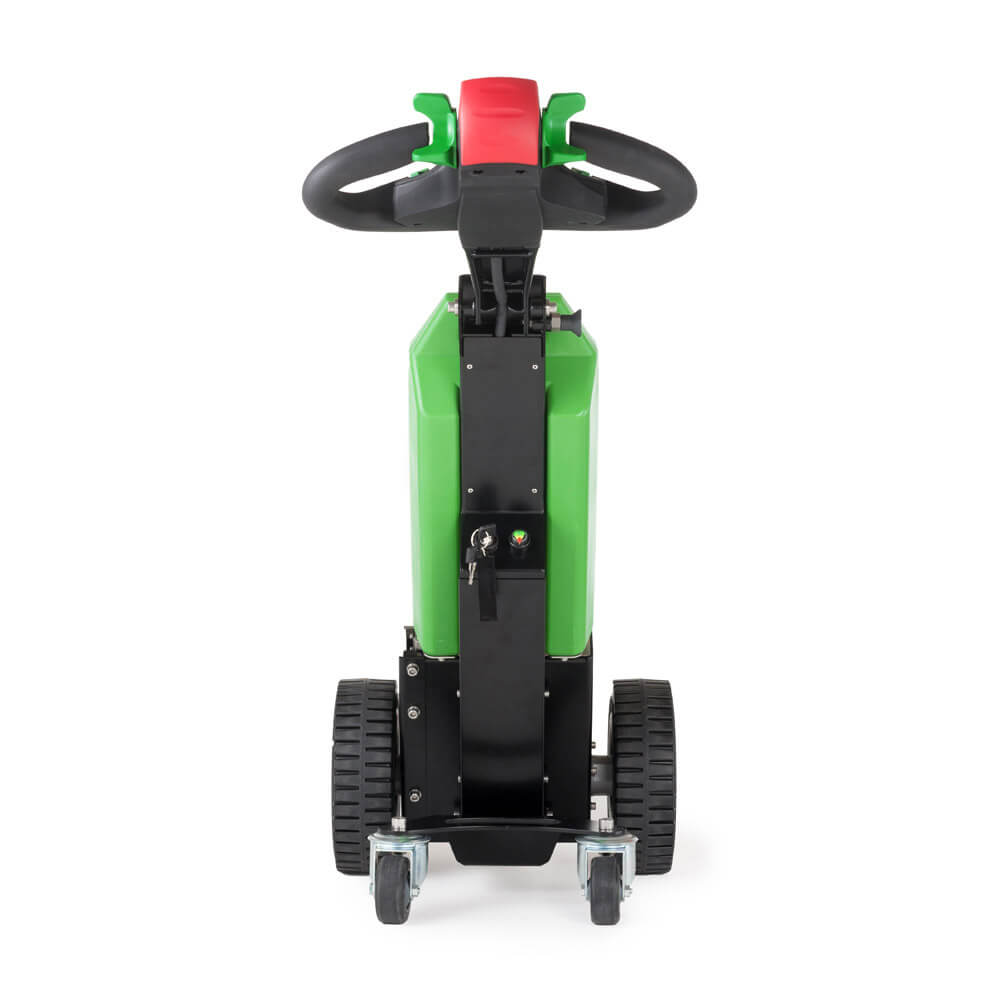 ručně vedený elektrický tahač t1000 s nastavitelnou řídící ojí a pomocnými kolečky, pohled zezadu