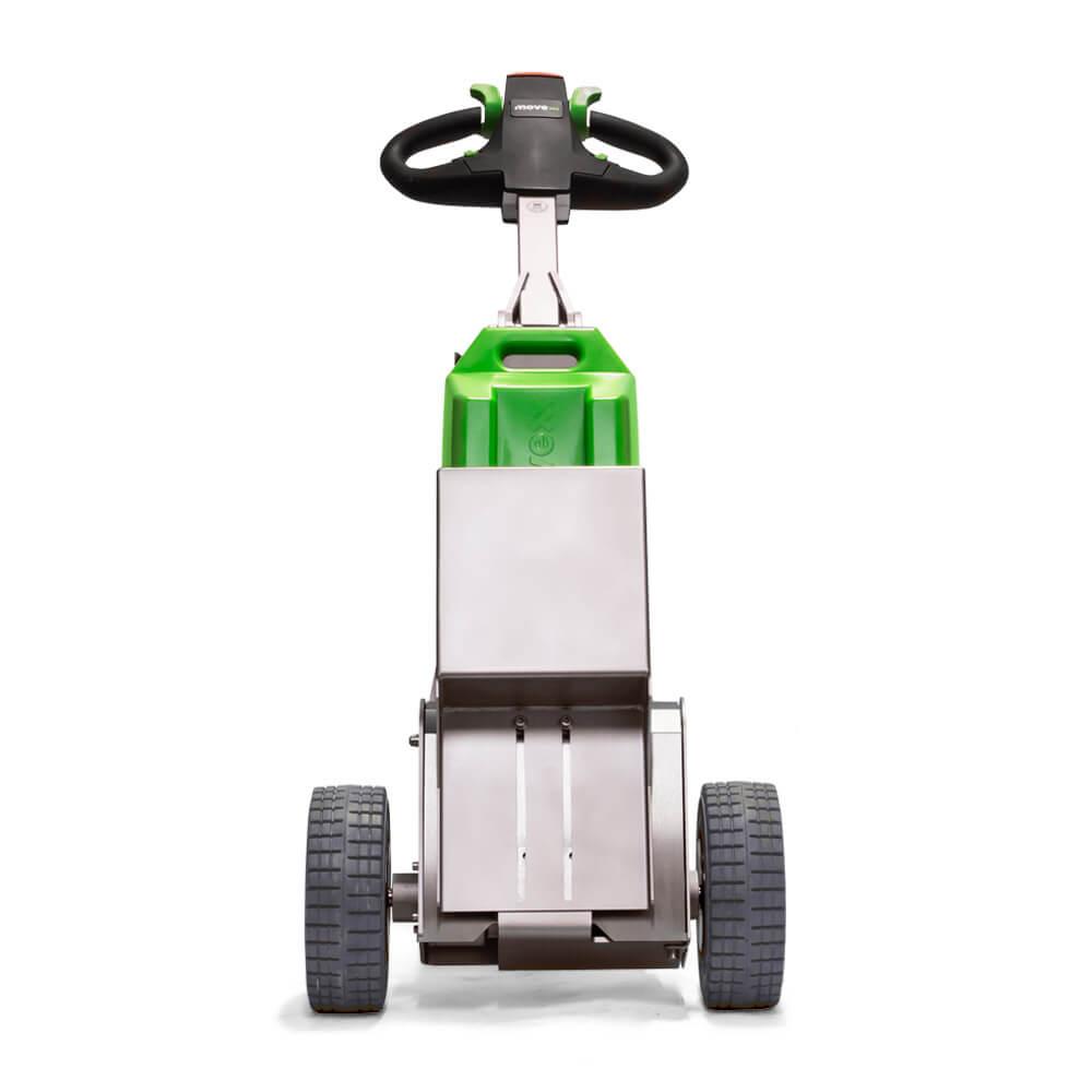 ručně vedený elektrický tahač t1500-rvs má vyměnitelnou lithiovou baterii a konstrukci z nerezové oceli, foto zepředu