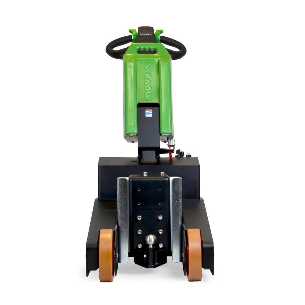 elektrický ručně vedený tahač t2500-p s elektrickým zdvihacím hákem a vyměnitelnou lithiovou baterií, foto zepředu