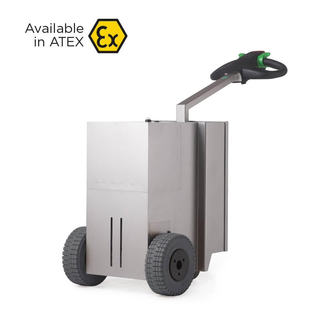 elektrický ručně vedený tahač t2500-cleanroom s vestavěnou baterií a nerezovou konstrukcí vhodný do atex provozů, úvodní foto