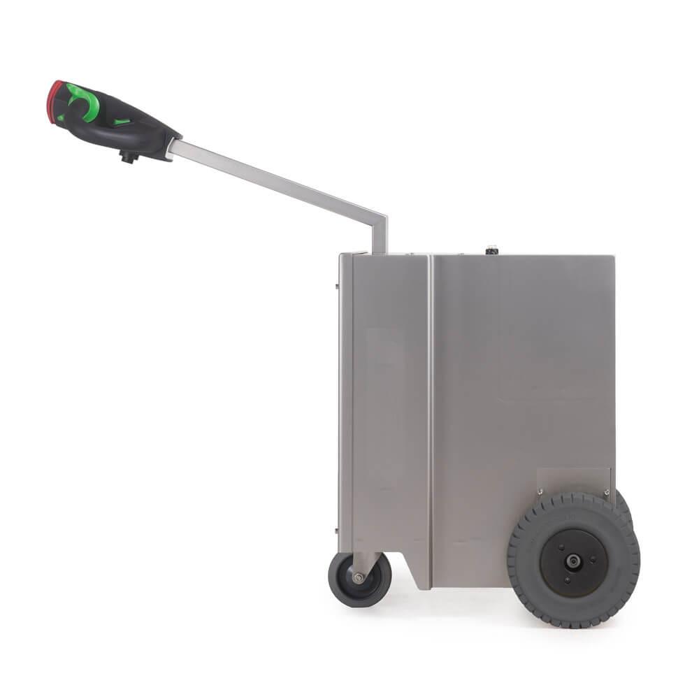 elektrický ručně vedený tahač t2500-cleanroom s vestavěnou baterií a nerezovou konstrukcí vhodný do atex provozů, foto z boku