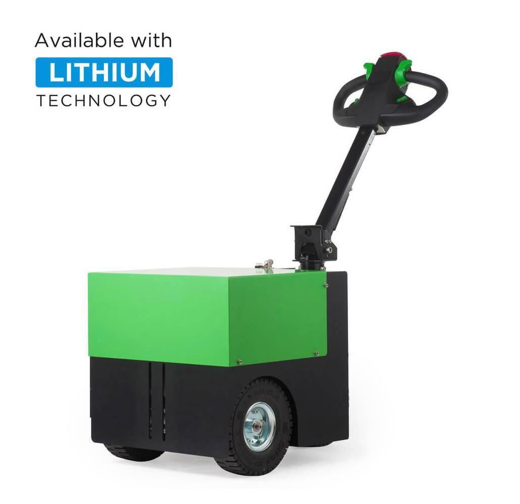 elektrický ručně vedený tahač t2500 utáhne 2500 kg těžký náklad na kolečkách, úvodní foto