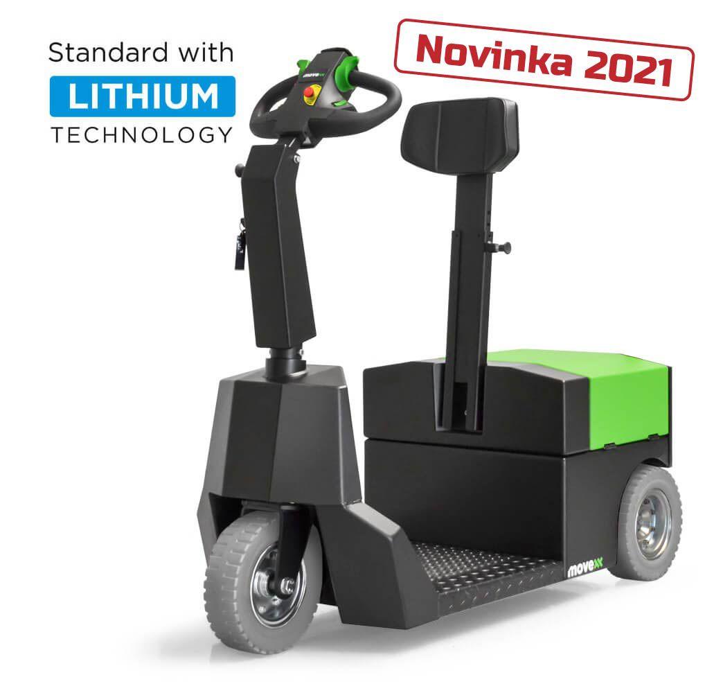 elektrický tahač t3500-platform s plošinou pro stojící obsluhu je nejnovější tahač značky movexx uvedený na trh v roce 2021, úvodní foto