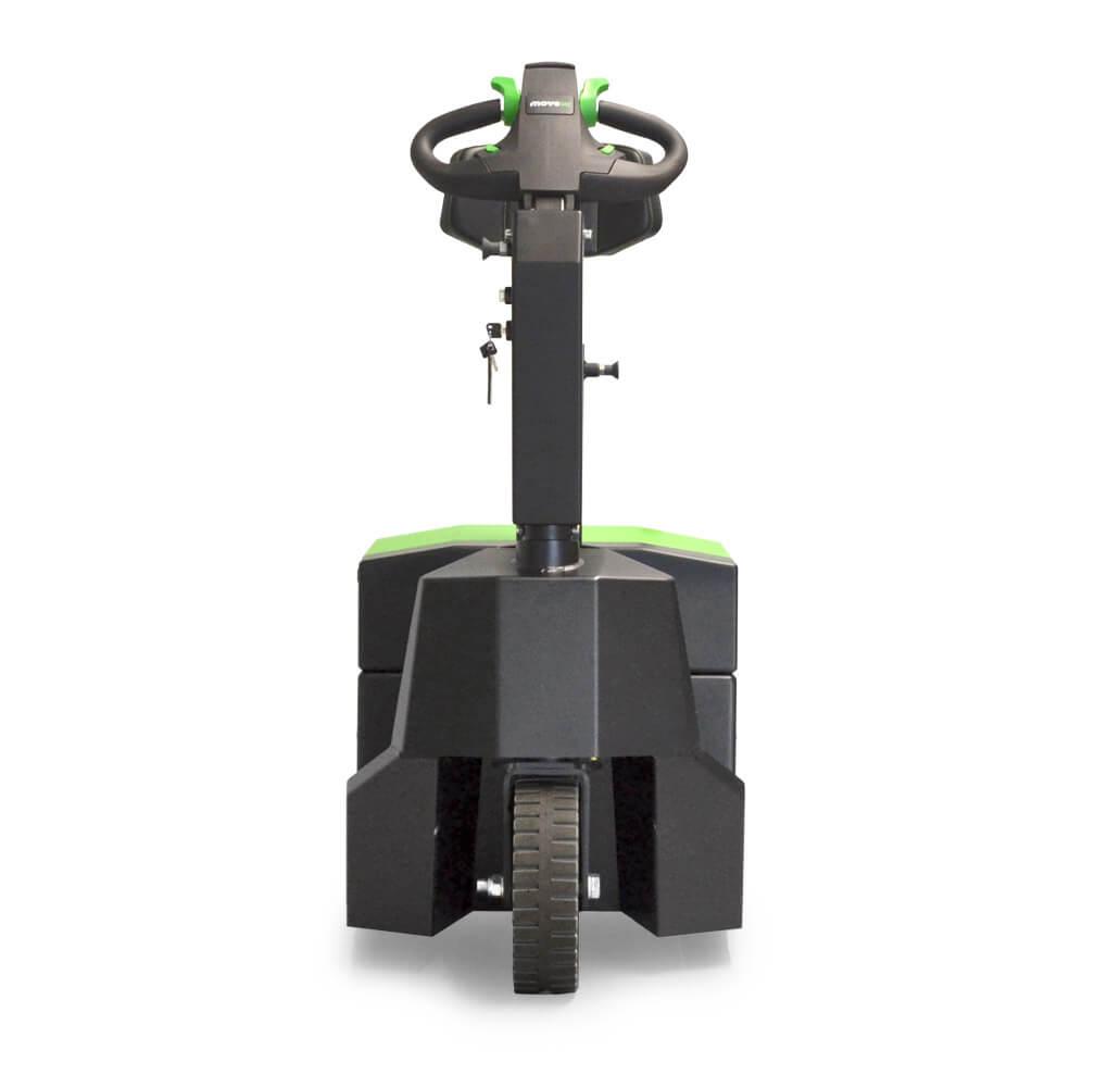 elektrický tahač t3500-platform s plošinou pro stojící obsluhu uveze až 3500 kg tažnou soupravu, má vyměnitelnou baterii a je jednoduchý na používání, servis a údržbu, foto zepředu