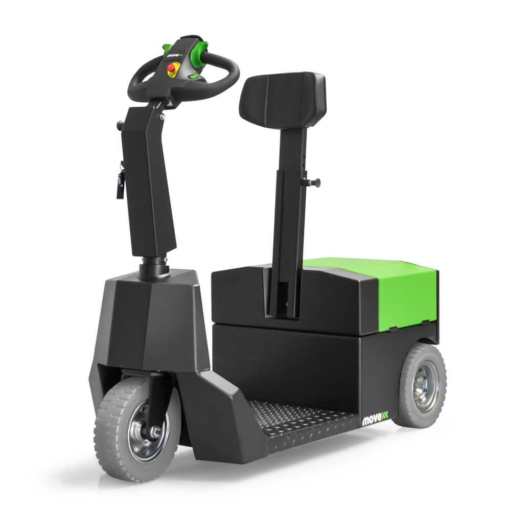 elektrický tahač t3500-platform s plošinou pro stojící obsluhu uveze až 3500 kg tažnou soupravu, má vyměnitelnou baterii a je jednoduchý na používání, servis a údržbu, foto tahače
