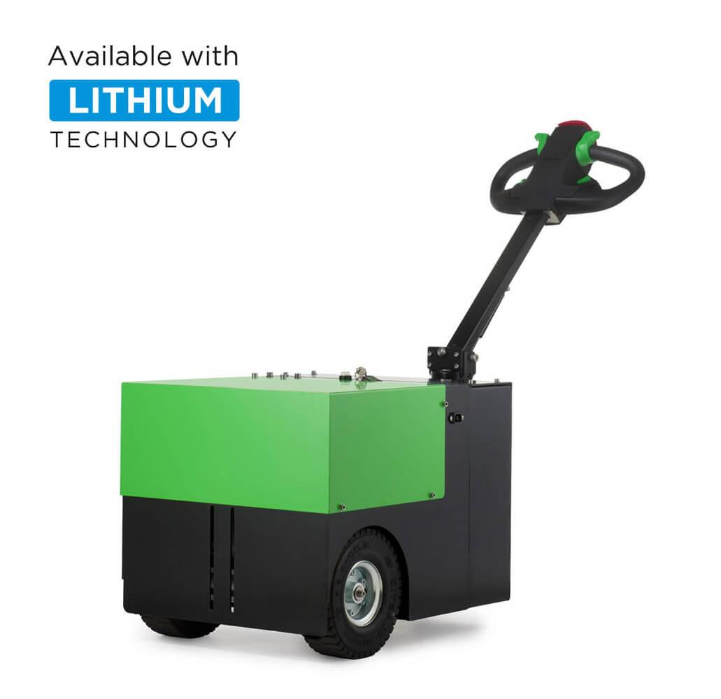 elektrický ručně vedený tahač t3500 je vhodný k manipulaci nákladu na kolečkách do 3,5 tuny, úvodní foto