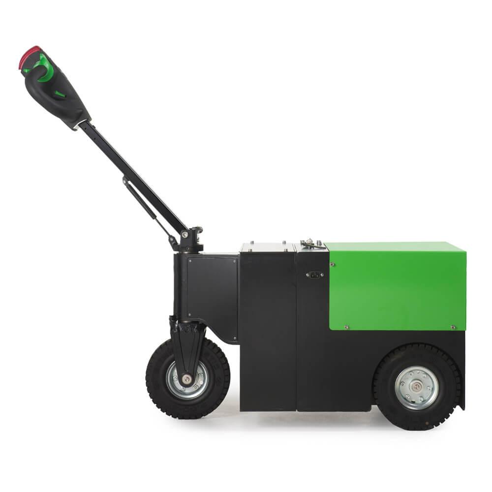 elektrický ručně vedený tahač t3500 je vhodný k manipulaci nákladu na kolečkách do 3,5 tuny, foto z boku