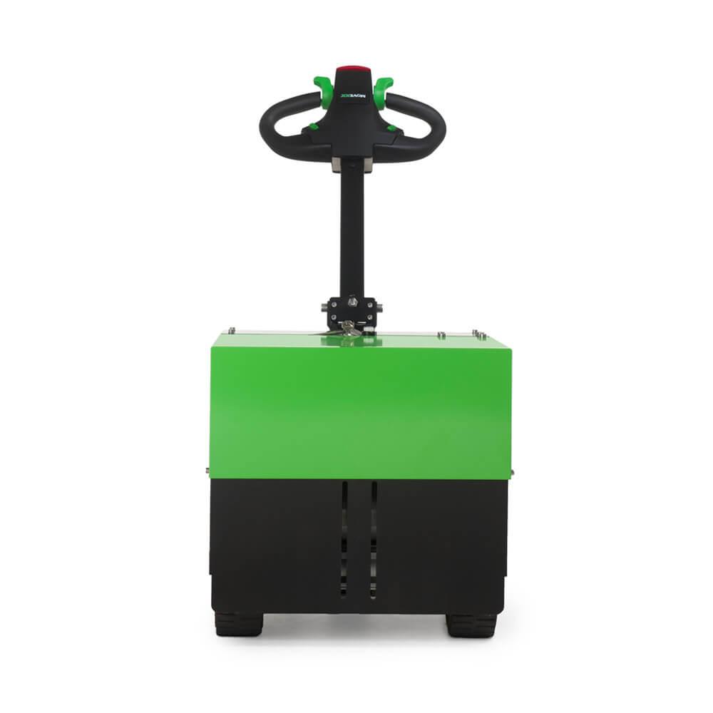 elektrický ručně vedený tahač t3500 je vhodný k manipulaci nákladu na kolečkách do 3,5 tuny, foto zepředu