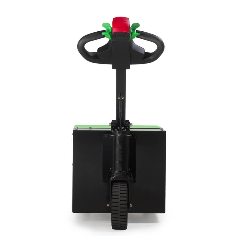 elektrický ručně vedený tahač t3500 je vhodný k manipulaci nákladu na kolečkách do 3,5 tuny, foto zezadu