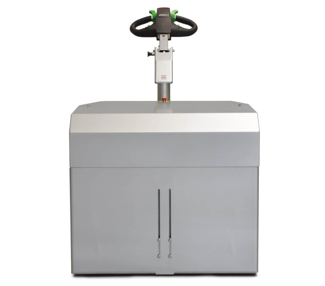 elektrický ručně vedený tahač t6000-cleanroom je novinka 2021 a utáhne až 6 tun nákladu, foto z přední strany