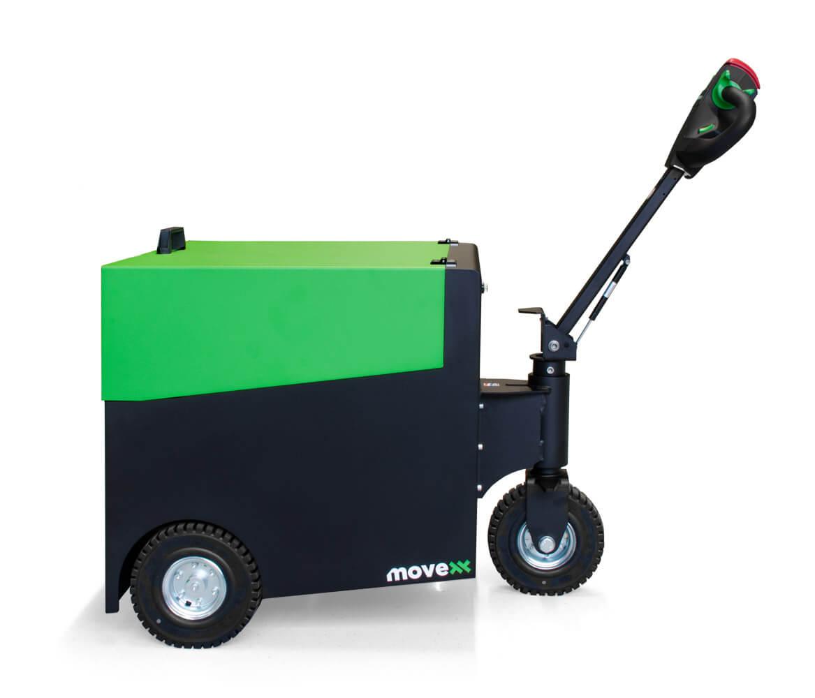 elektrický ručně vedený tahač t6000 utáhne až 6 tun nákladu na kolečkách, foto z profilu