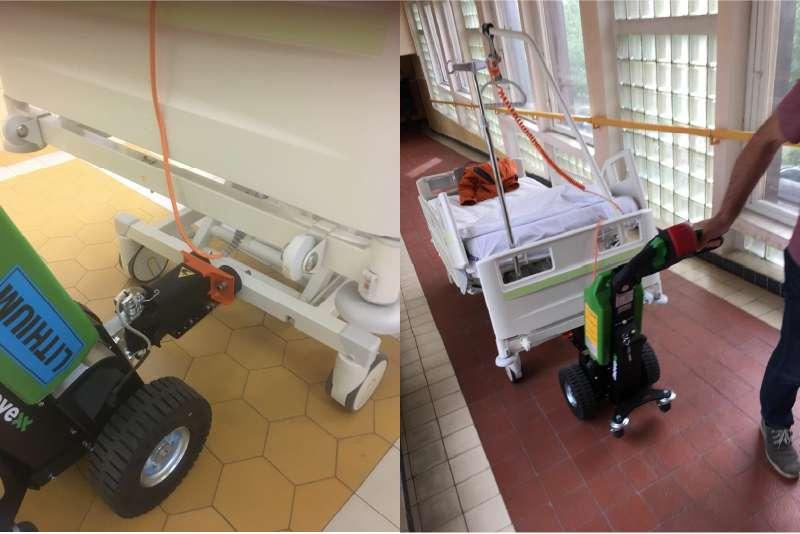 elektrický ručně vedený tahač t1000, manipulace s nemocničními lůžky v nemocnici, zvládne i stoupání