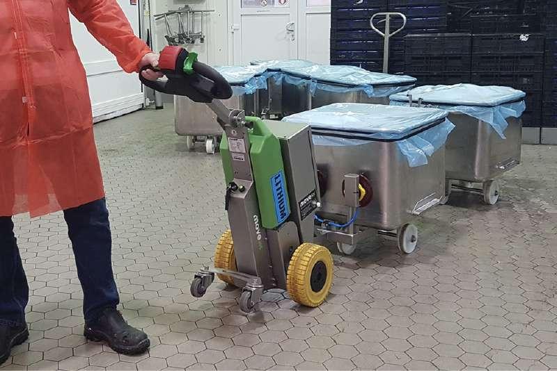 ručně vedený elektrický tahač t1500-rvs je vhodný pro zdravotnictví, potravinářský, chemický, farmaceutický průmysl, uchycení nerezové nádoby pomocí vakuové přísavky