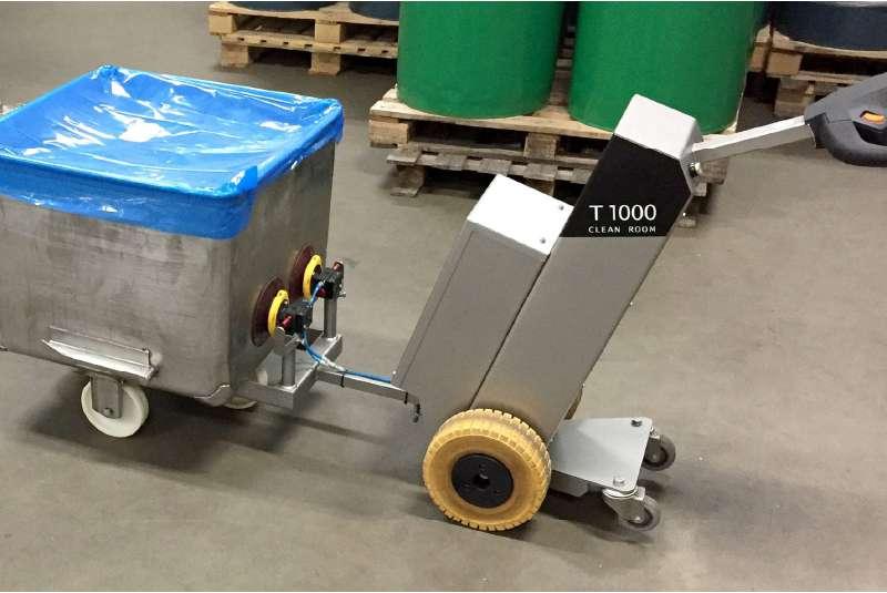 elektrický ručně vedený tahač t1000-cleanroom s vakuovou přísavkou, uchycení nádoby na kolečkách