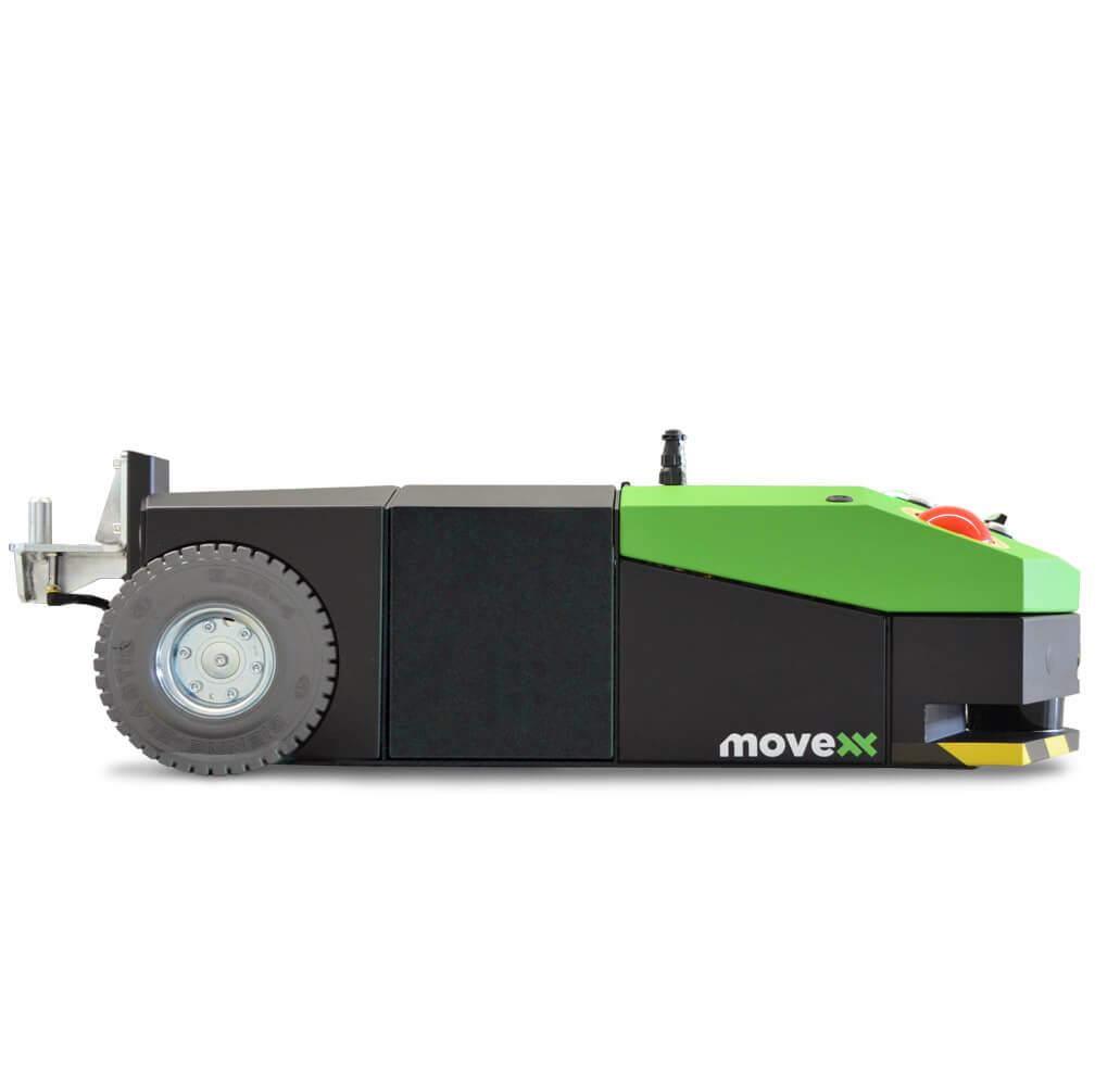 elektrický automaticky vedený tahač agv-basic s snadno vyměnitelnou baterií a optickou navigací, foto z profilu