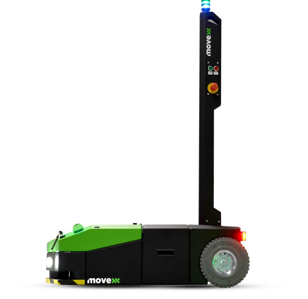 elektrický automaticky vedený tahač agv1000 má ovládací stojan pro pohodlnější ovládání, foto z profilu