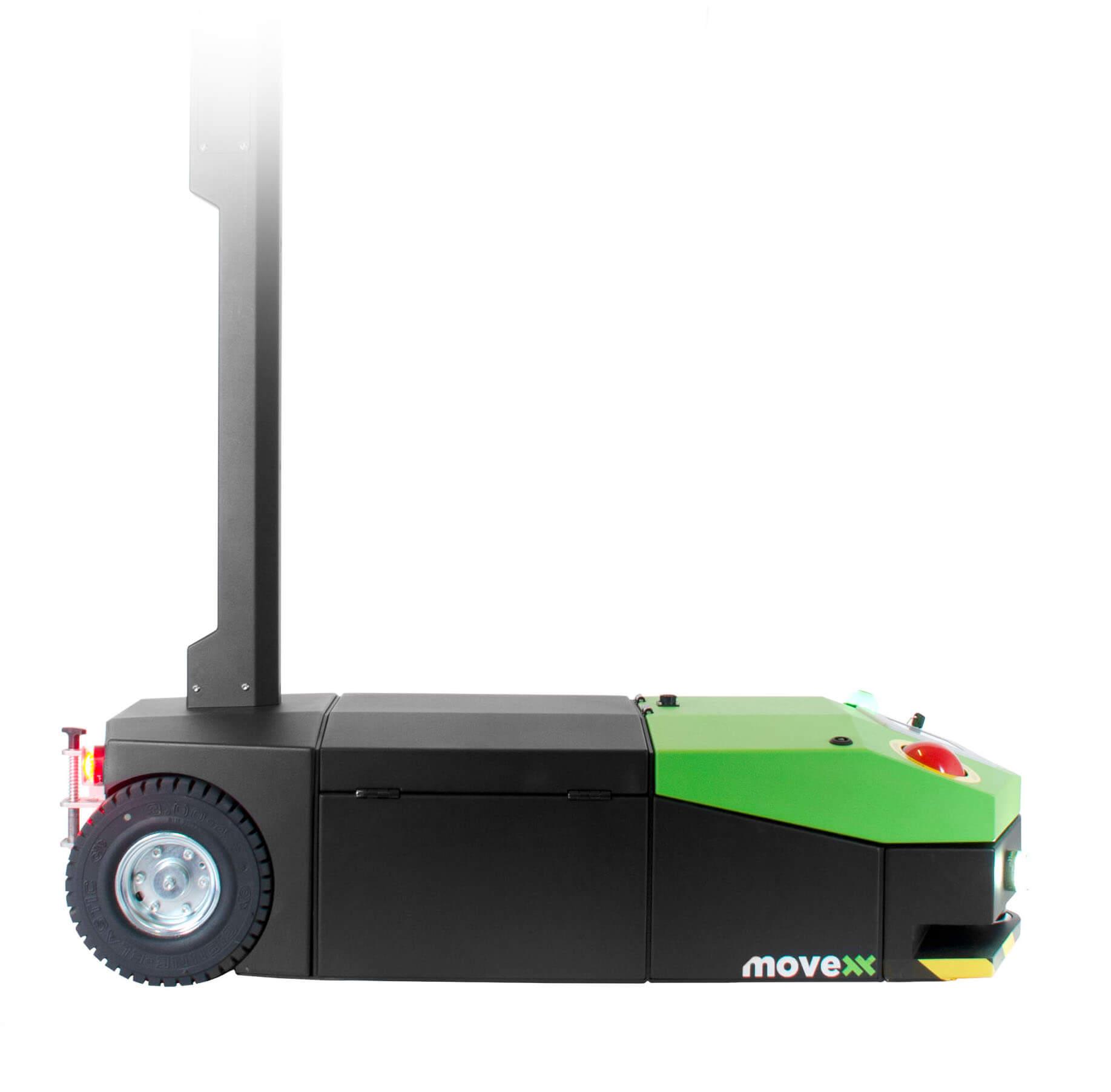 elektrický automaticky vedený tahač agv2500 s dotykovým displejem a lehce vyměnitelnou baterií, foto z profilu