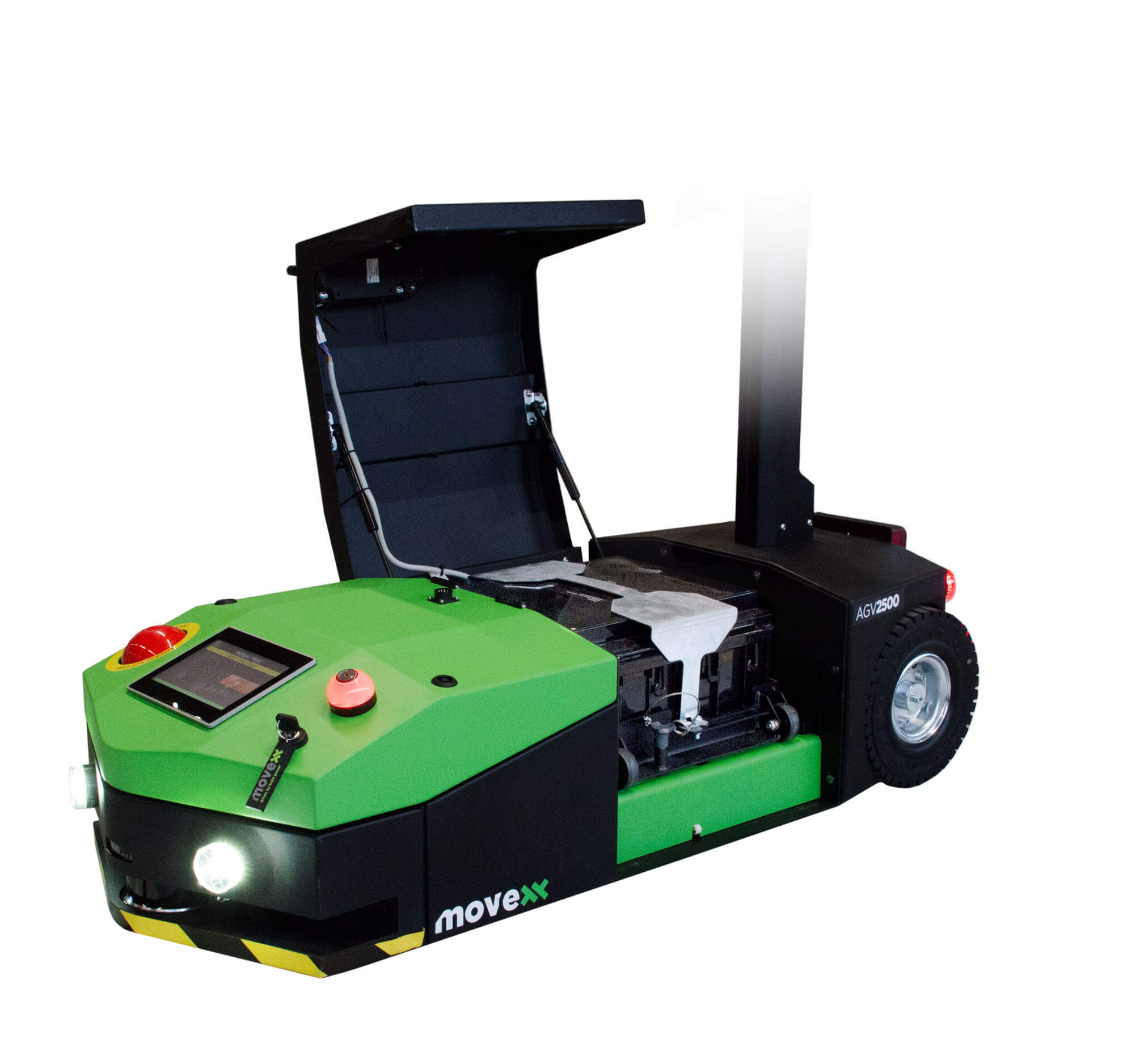 elektrický automaticky vedený tahač agv2500 s otevřeným krytem pro výměnu baterie
