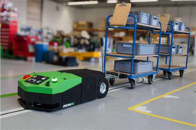 elektrický automaticky vedený tahač agv-basic jede po vyznačené dráze ve skladu a veze za sebou ojí připojenou tažnou soupravu policových přepravních vozíků