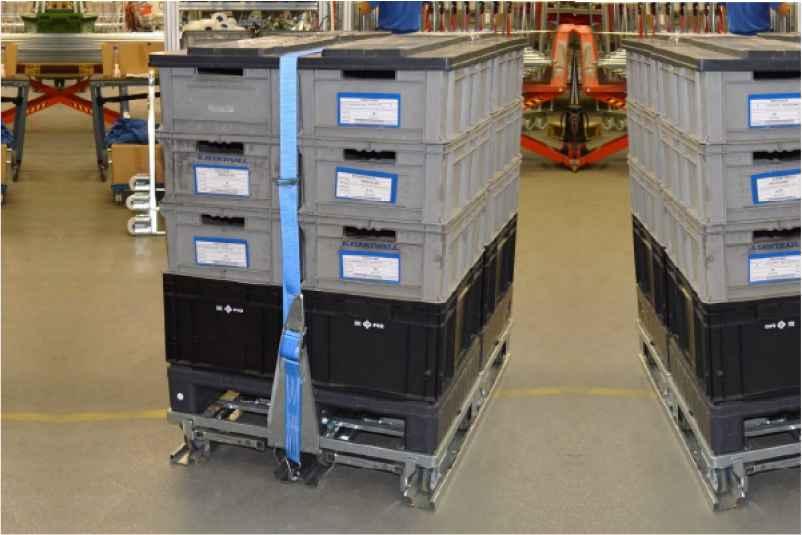 klt boxy na paletovém adaptéru zajištěné páskou ve skladu