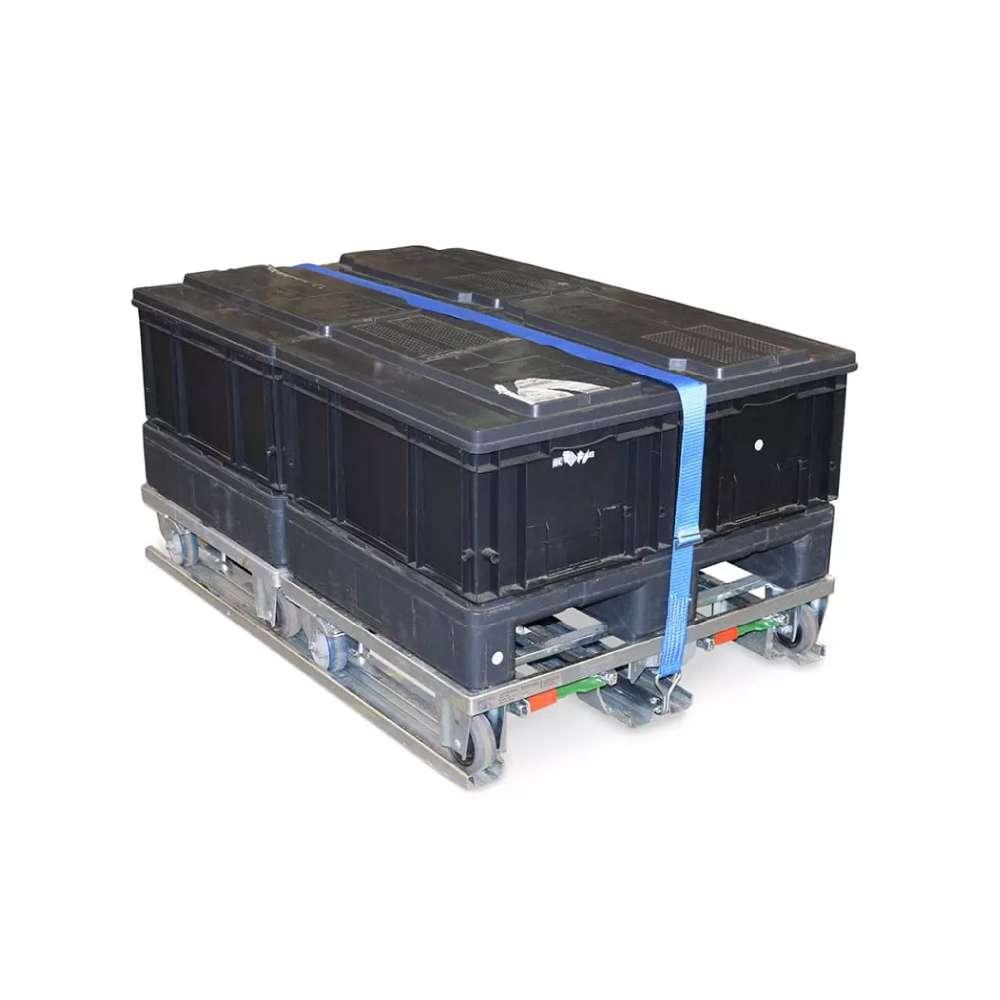 paletový adaptér k.hartwall pro přepravní vozíky dolly s klt boxy upevněný páskou