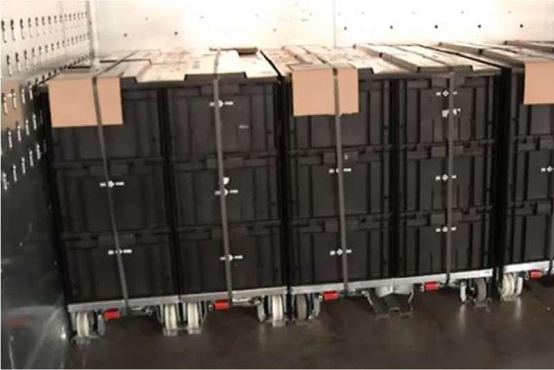 páskou zajištěné klt boxy při kamionové přepravě, paletový adaptér a přepravní vozíky dolly od k.hartwall