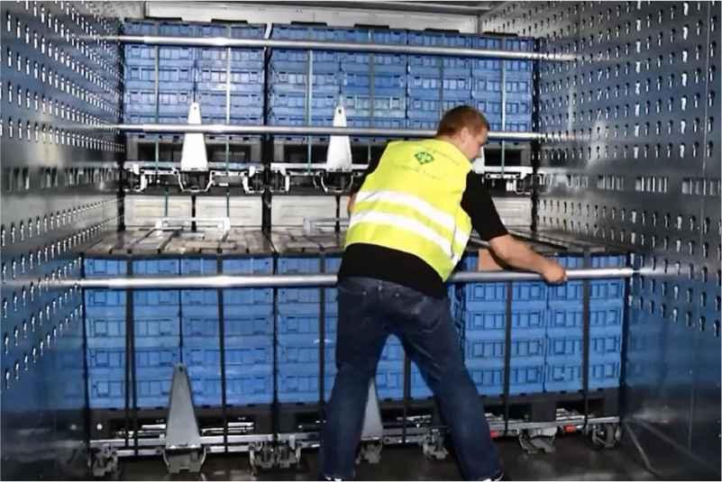 jednoduchá přeprava klt boxů, paletový adaptér a přepravní vozíky dolly od k.hartwall